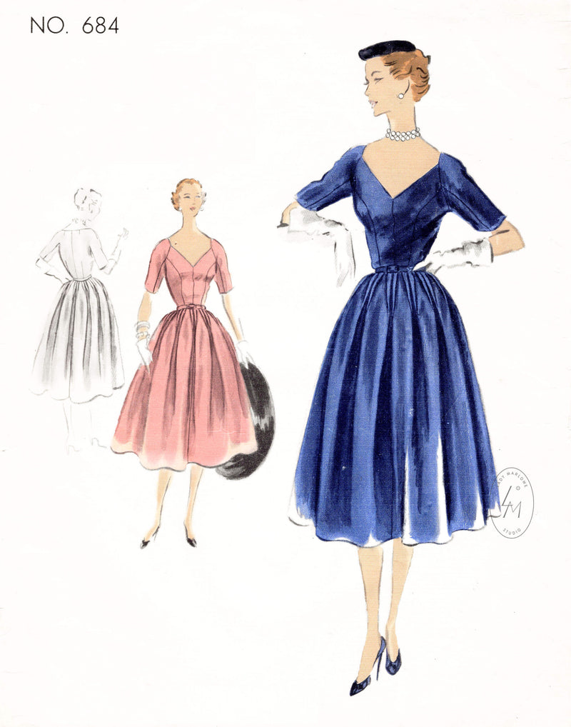 Vogue 684 Couturier 1950s cocktail dress v neckline full skirt vintage sewing pattern reproduction