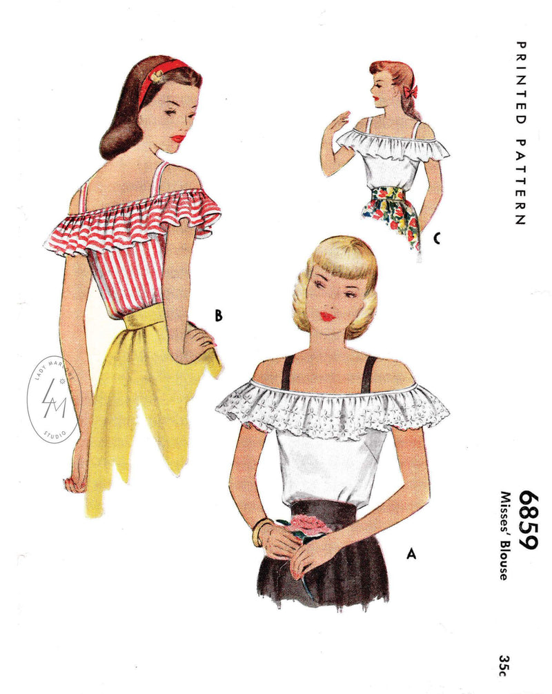 1940s 1947 McCall 6859 off shoulder  top ruffle accent ribbons straps vintage sewing pattern reproduction