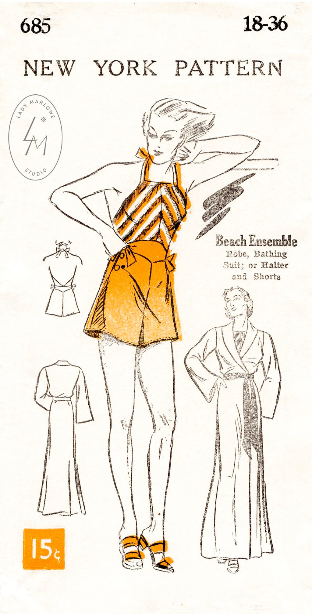 1930s vintage sewing pattern NY 685 playsuit and beach robe