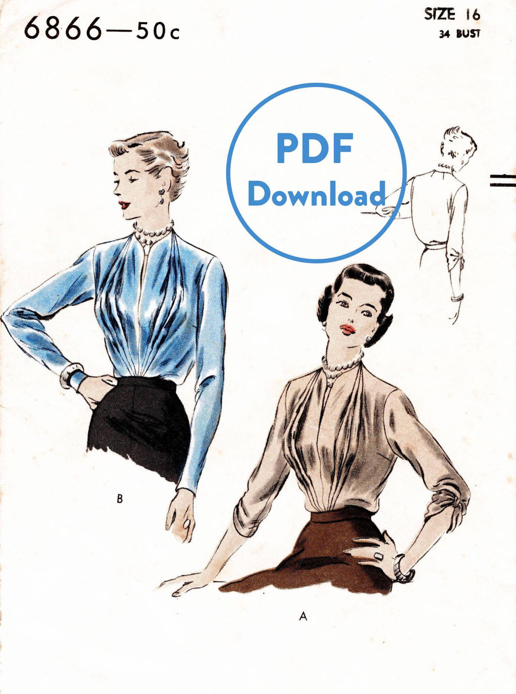 Vogue 6866 1950s blouse vintage sewing pattern