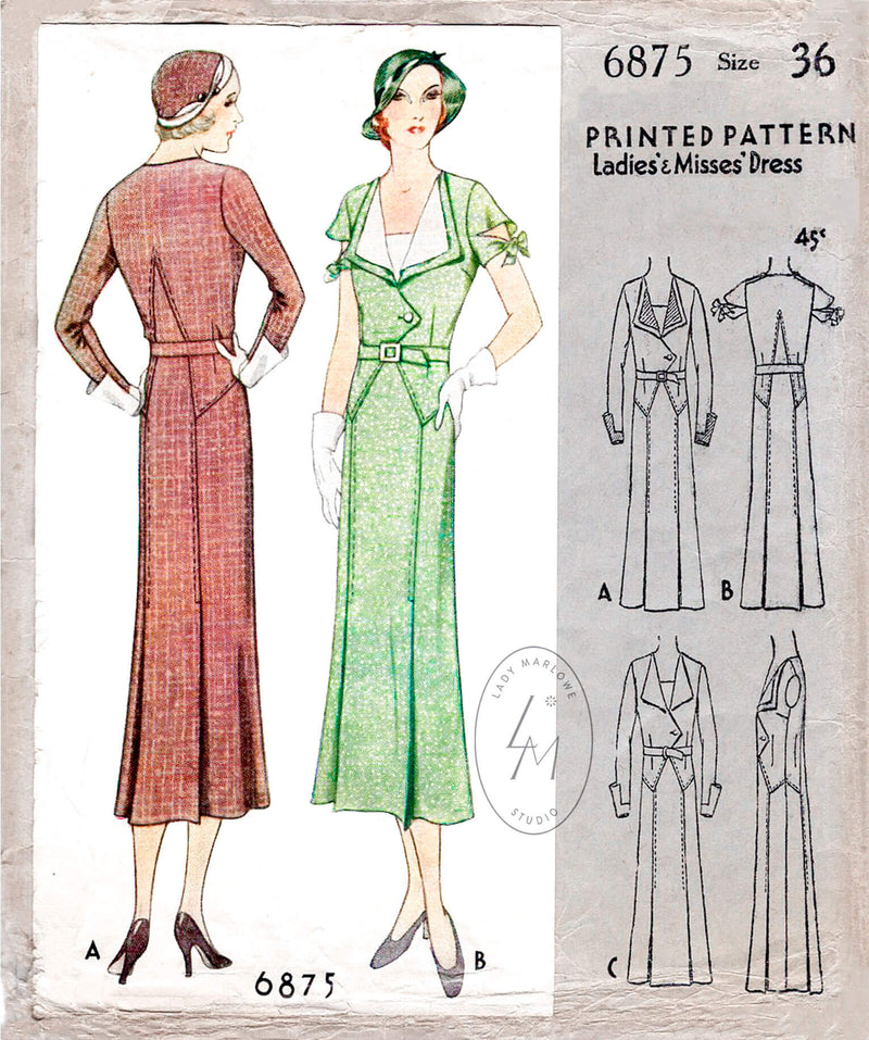 McCall 6875 1930s vintage dress sewing pattern suit dress tie sleeves