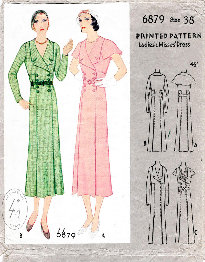 McCall 6978 1930s 1932 suit dress double breasted cape sleeves vintage sewing pattern reproduction