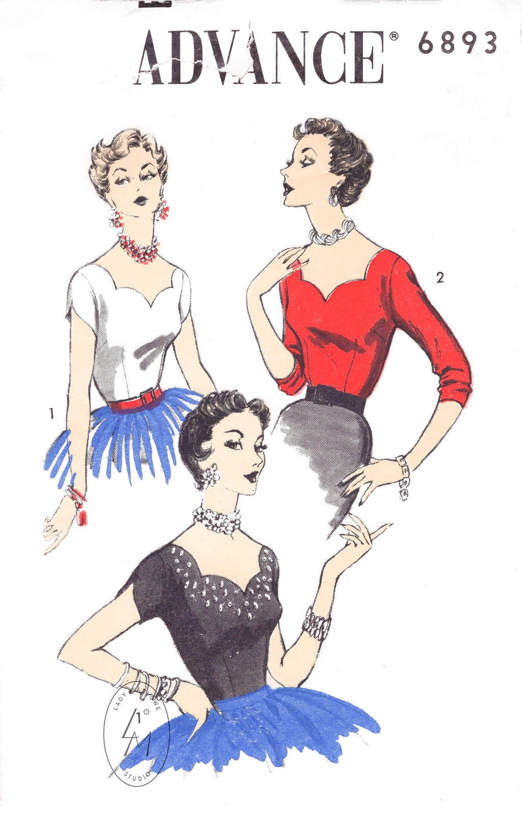 Advance 6893 1950s scalloped edge blouse in two styles vintage sewing pattern reproduction