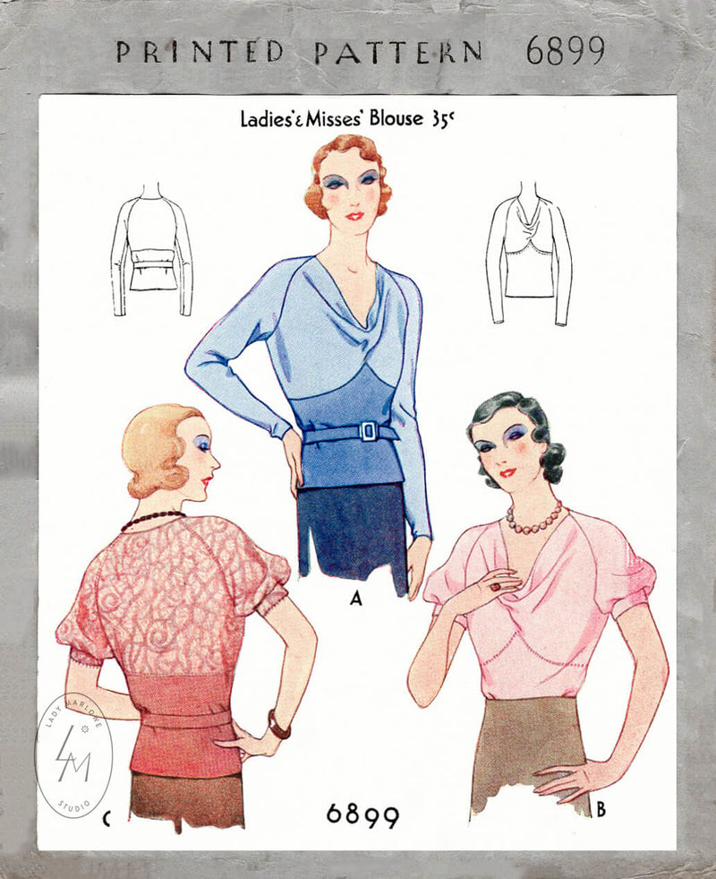 1930s 1932 McCall 6899 art deco blouse curved seams raglan puff sleeves cowl neckline vintage sewing pattern reproduction