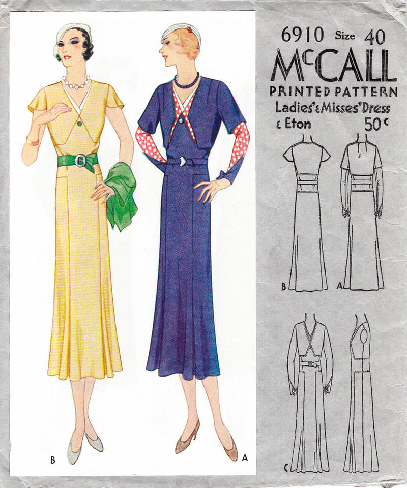 1930s 1932 McCall 6910 day dress with cropped eton jacket vintage sewing pattern reproduction