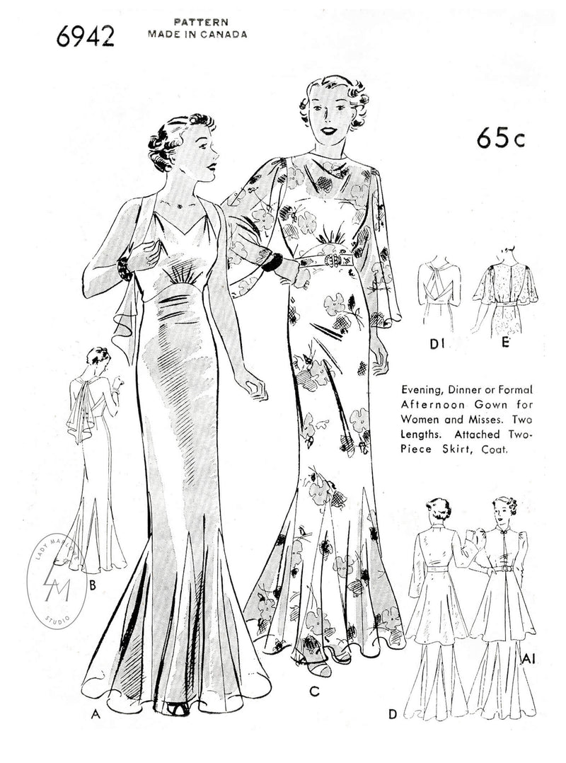 Butterick 6942 1930s wedding bridal dress vintage sewing pattern reproduction 5 styles with tunic blouse