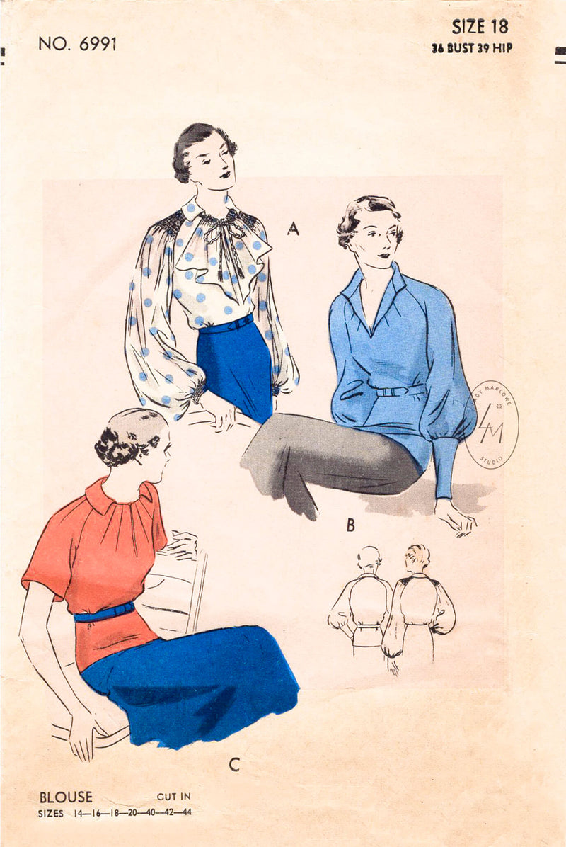 1930s set of blouses in 3 styles. Bishop sleeves, jabot, sunburst darts. Vintage sewing pattern reproduction. Vogue 6991
