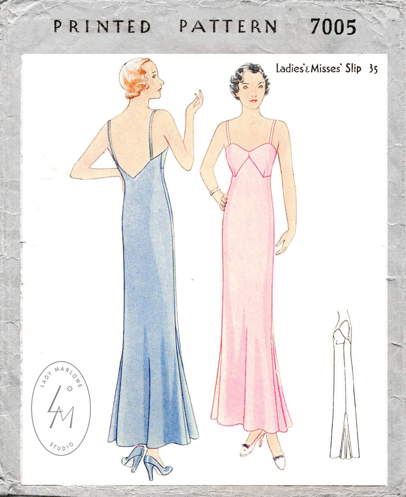 McCall 7005 1930s 1932 slip dress v back neckline vintage lingerie sewing pattern reproduction