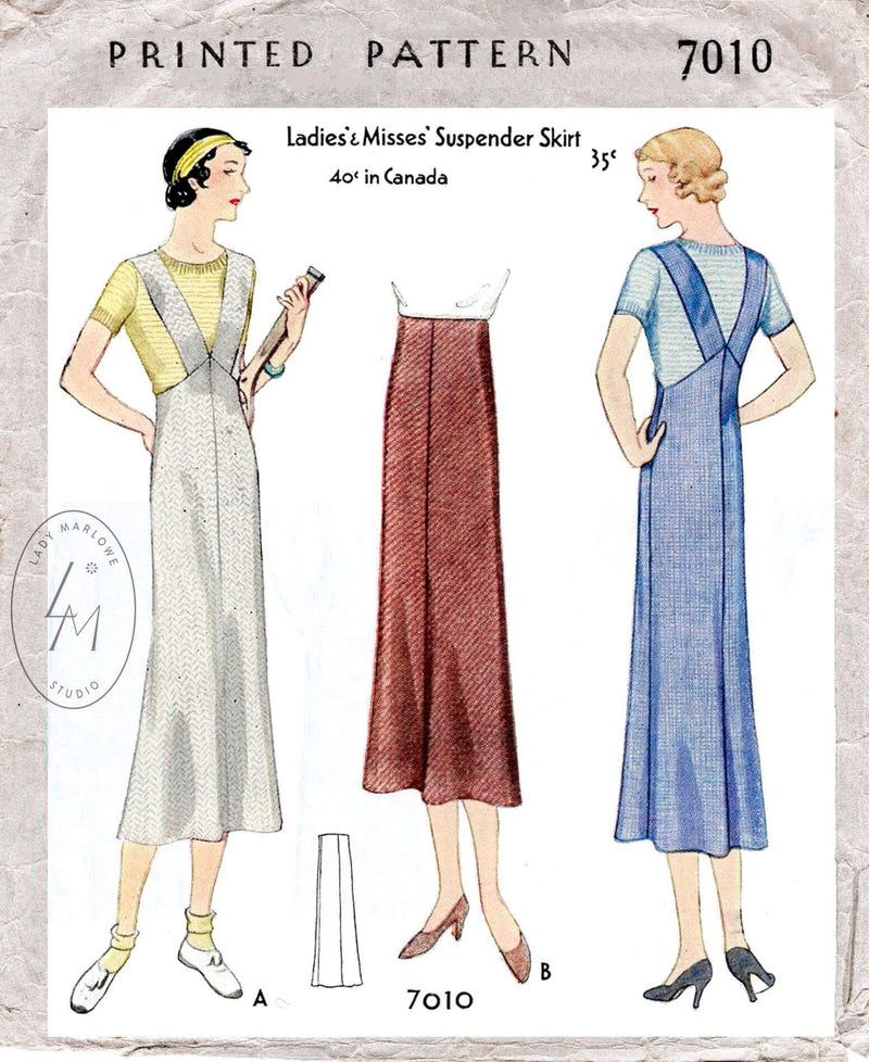 1930s 1932 McCall 7010 tennis sportswear pinafore dress suspender straps vintage sewing pattern reproduction