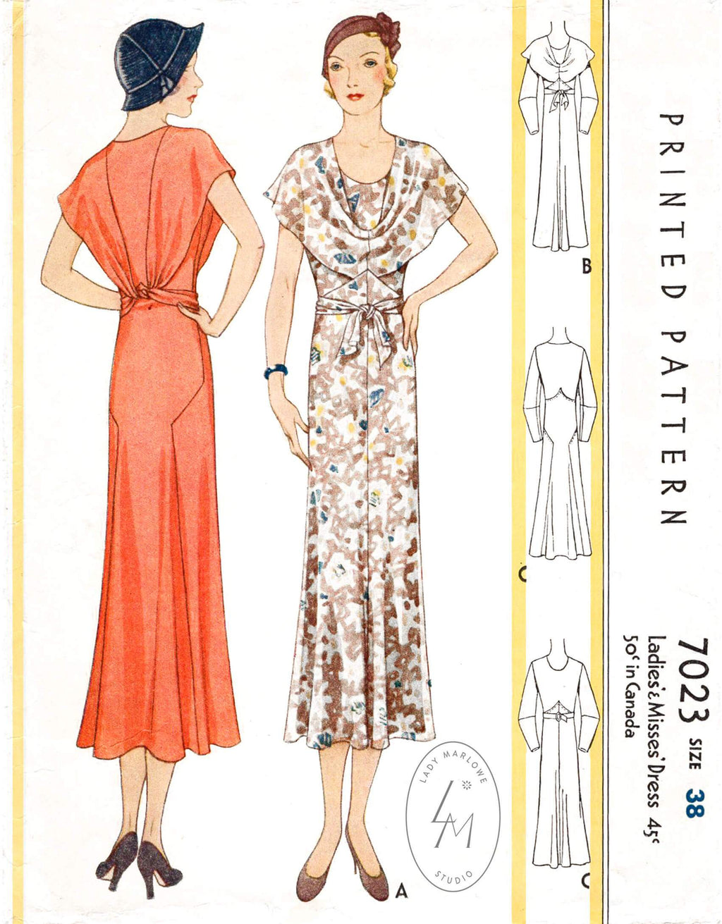 1930s Art Deco Wrao Dress Vintage Sewing Pattern