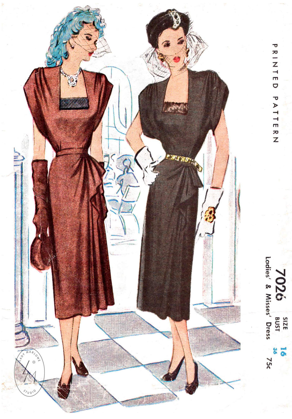 McCall 7026 1940s cocktail dress vintage sewing pattern reproduction