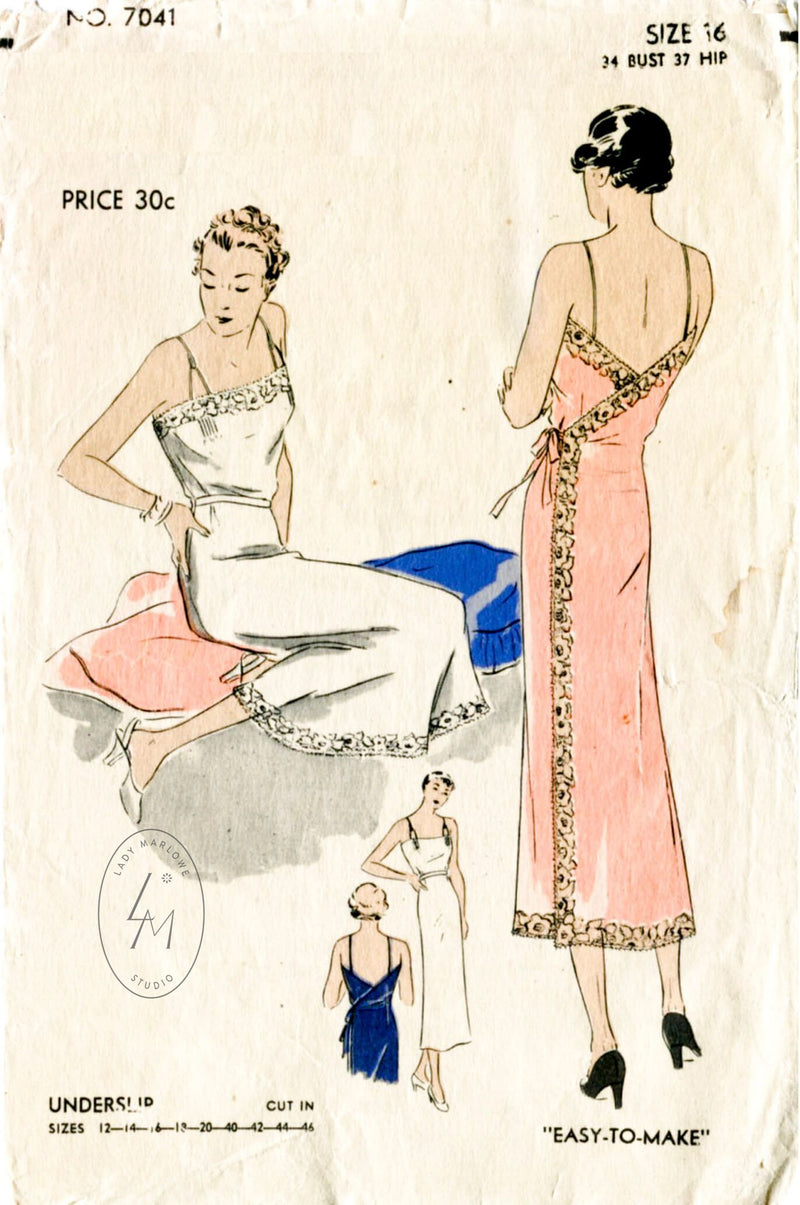 Vogue 7041 1930s vintage lingerie sewing pattern wrap slip dress 1930 30s