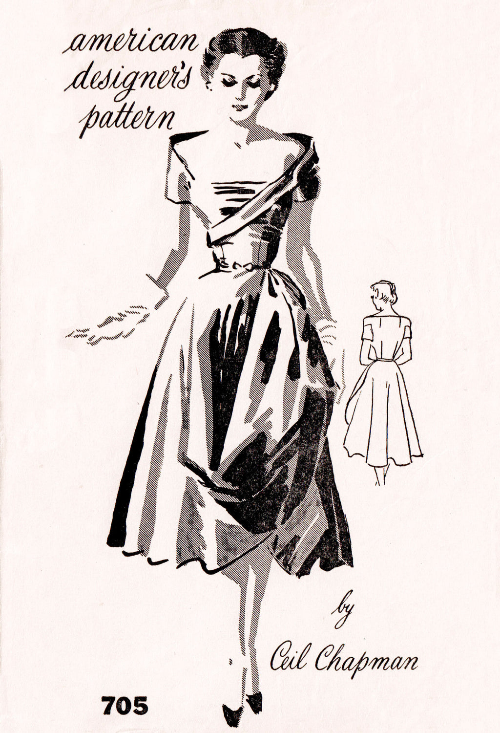 1950s Cocktail Dress Vintage Sewing Pattern Reproduction Lady Marlowe