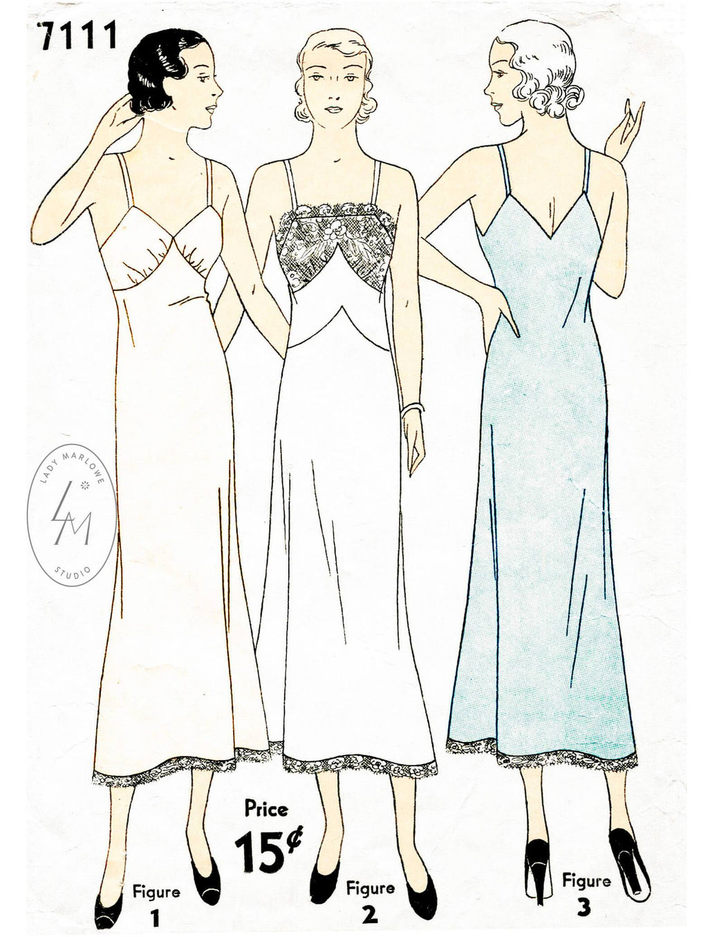 Simplicity 7111 1930s slip dress vintage lingerie sewing pattern 1930 30s