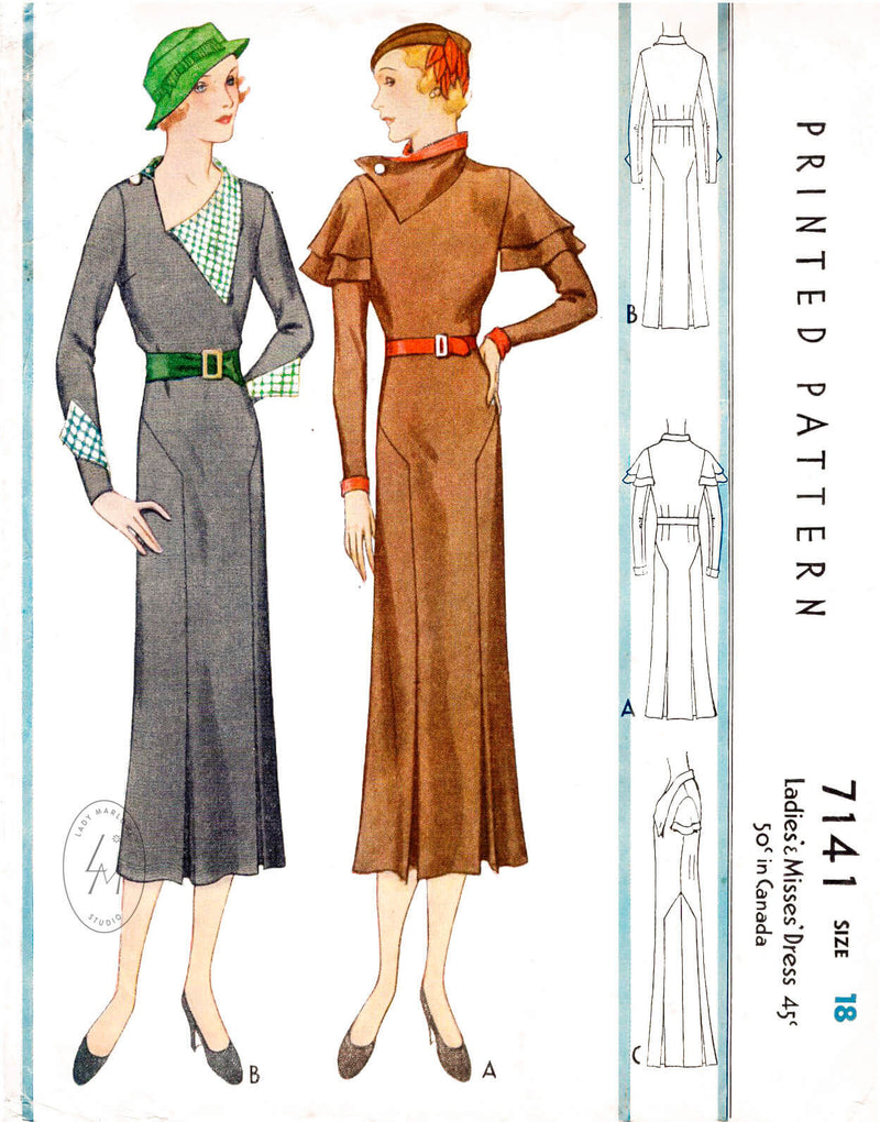 McCall 7141 1930s 1933 art deco dress vintage sewing pattern reproduction