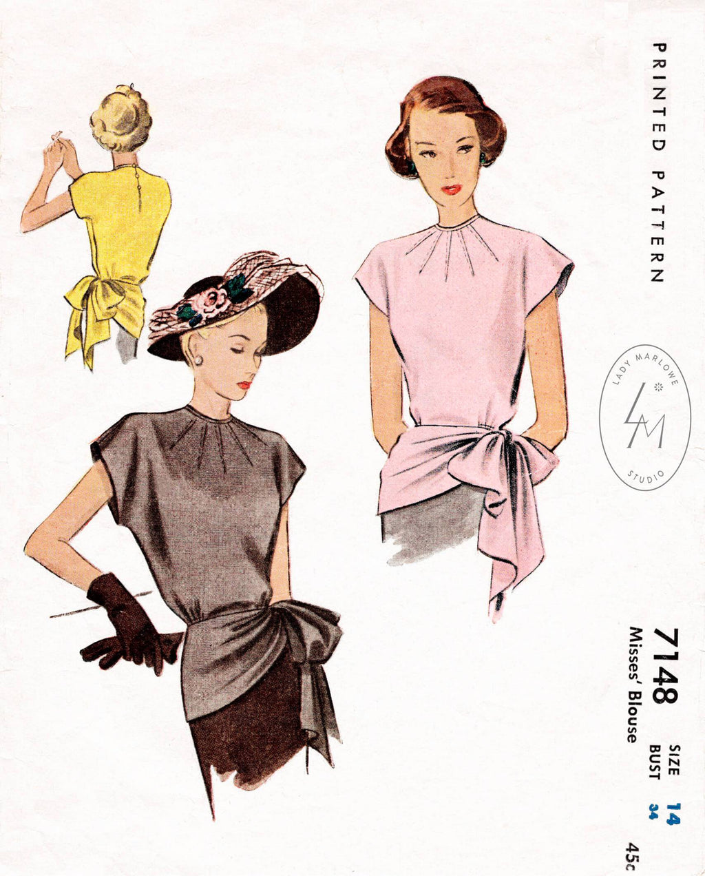 McCall 7148 1940s blouse vintage sewing pattern