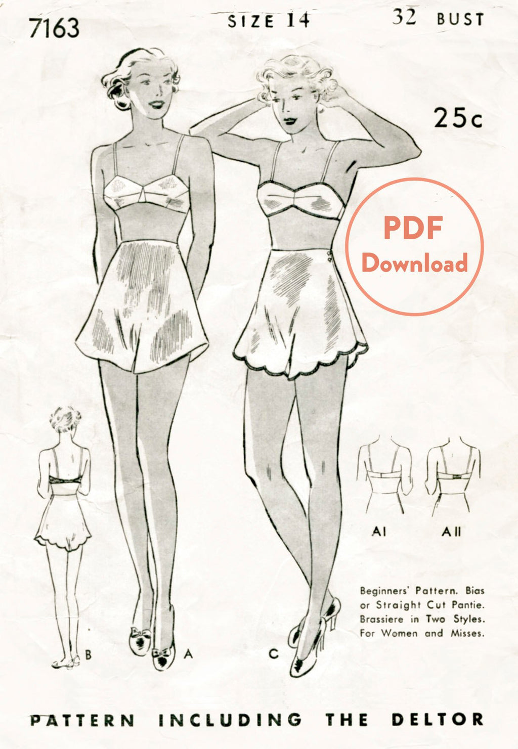 Butterick 7163 1930s vintage lingerie sewing pattern bra and tap shorts PDF download