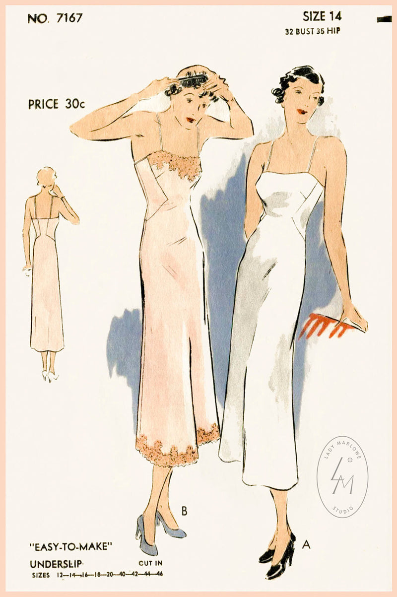 Vogue 7167 1930s slip dress vintage lingerie sewing pattern