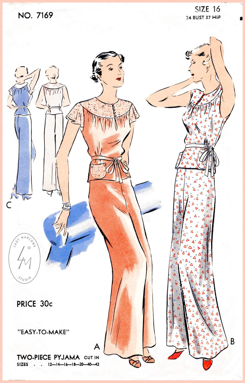 Vogue 7169 1930s pajama lingerie vintage sewing pattern