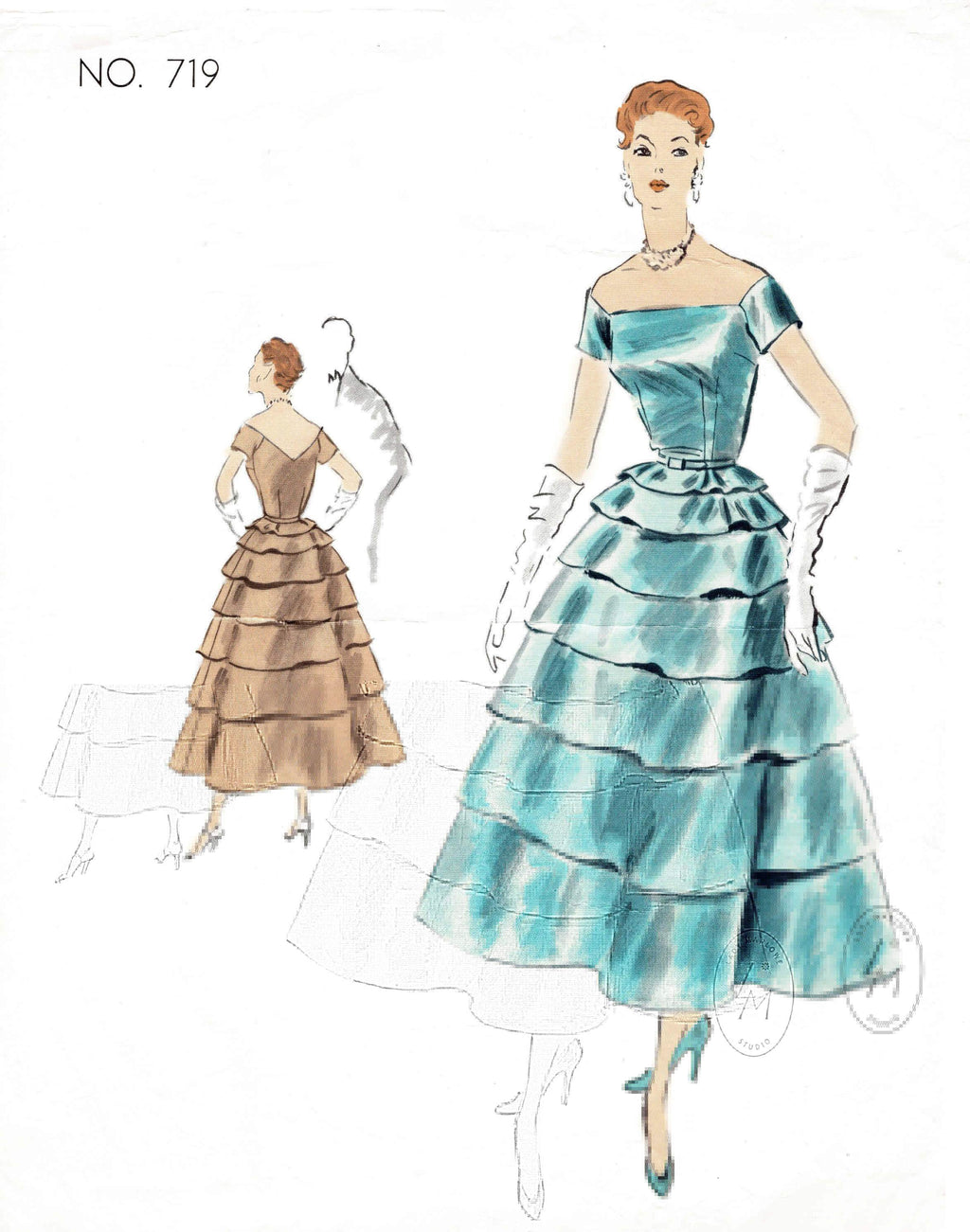 1950s Vogue Couturier 719 vintage sewing pattern tiered evening ball gown wide neckline repro