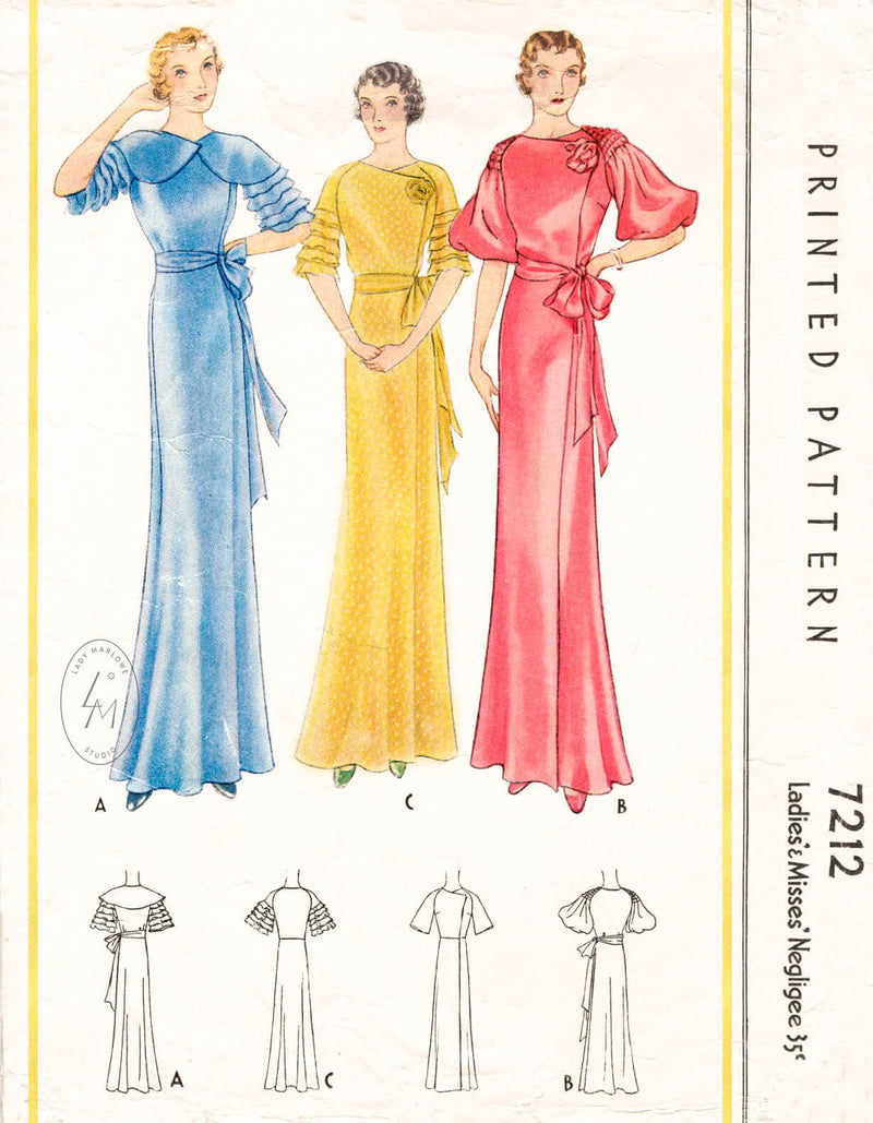 1930s McCall 7212 vintage negligee sewing pattern evening dress with detachable cape