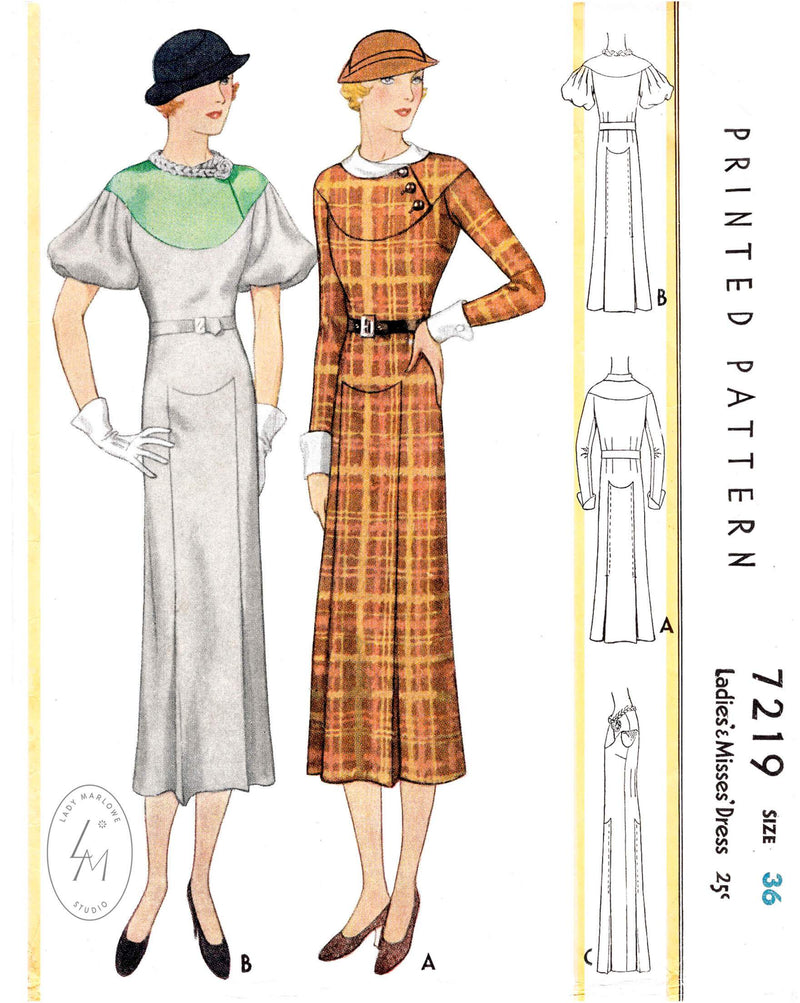 Mccall 7912 vintage dress pattern 1930s art deco curved seam detail sleeves in 3 styles reproduction