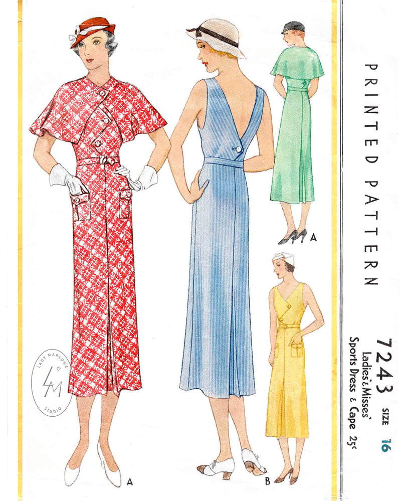 1930s 1933 McCall 7243 sports dress and cape ensemble vintage sewing pattern repro