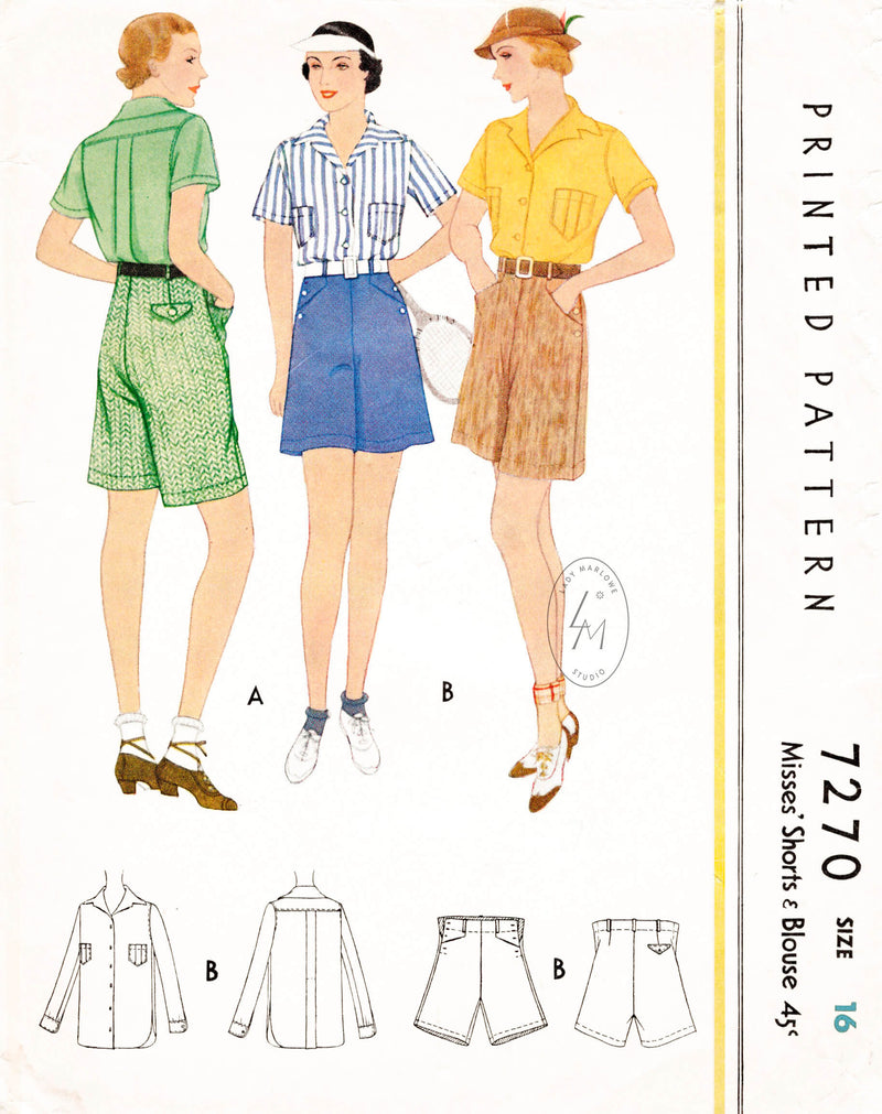 McCall 7270 1930s 1933 blouse shorts vintage sewing pattern ensemble