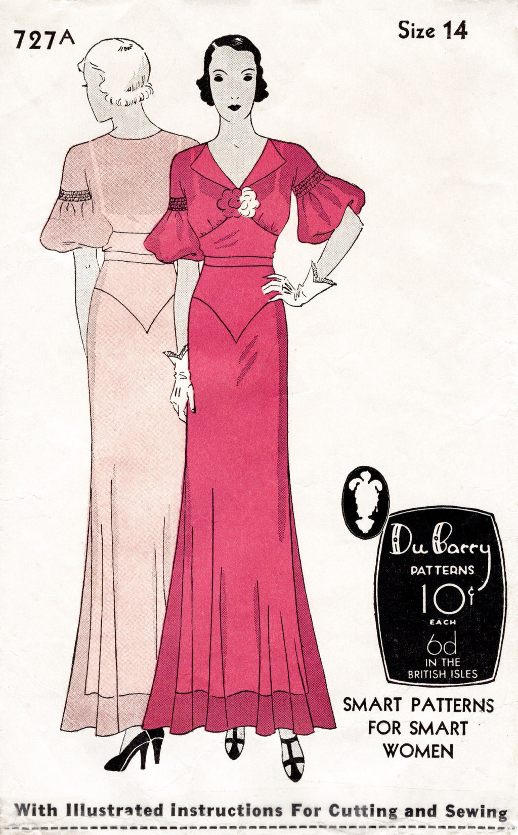 DuBarry 727A 1930s evening gown vintage sewing pattern