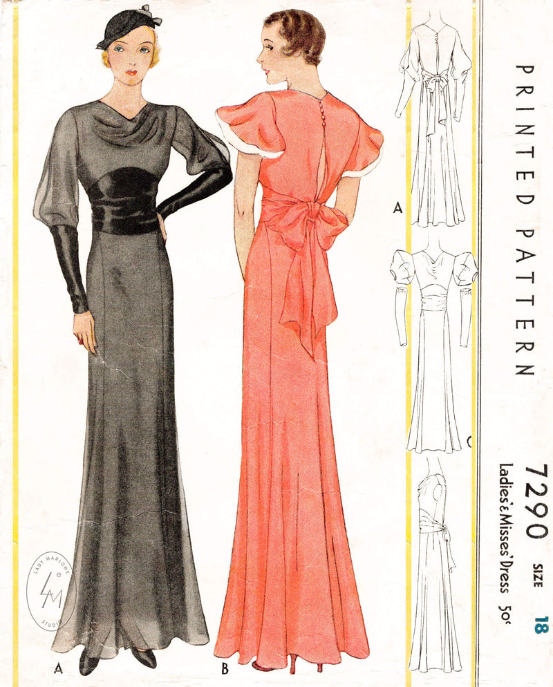 1930s evening dress gown puff sleeves cowl neck McCall 7290