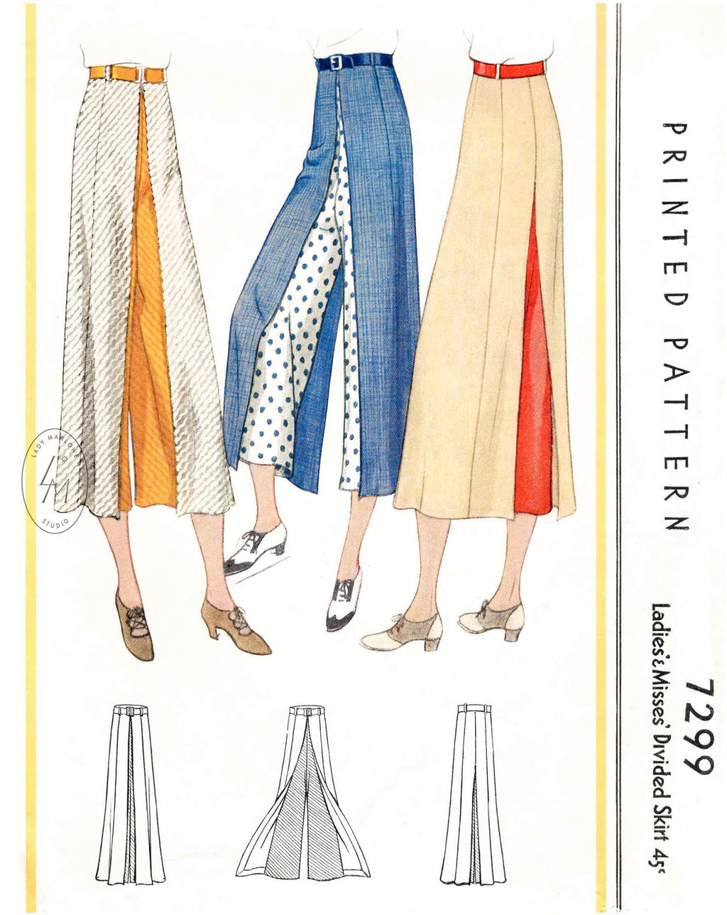 1930s 1933 McCall 7299 sportswear pattern culottes with divided overskirt vintage sewing pattern reproduction
