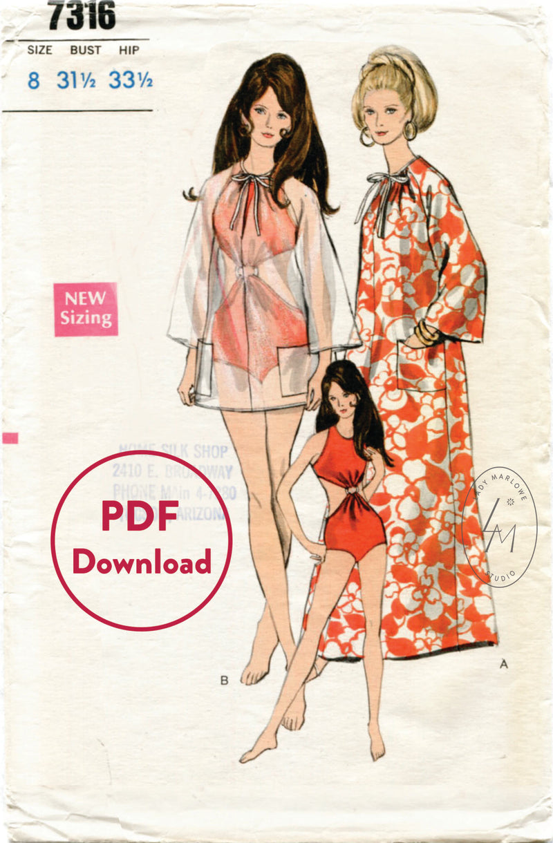 Vogue 7316 1960s mod swimsuit and tunic vintage sewing pattern PDF download