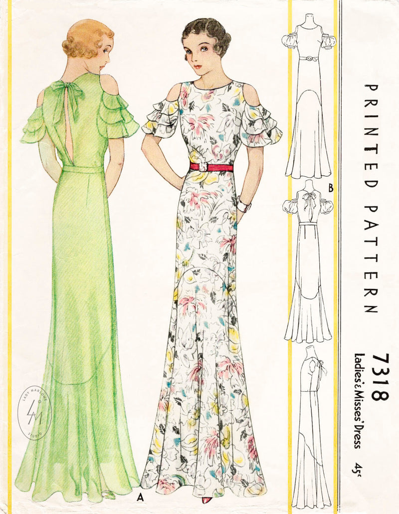 McCall 7318 1930s vintage sewing pattern repro evening gown dinner dress ruffle sleeves