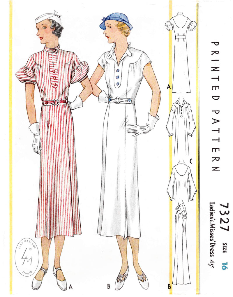 1930s 1933 McCall 7327 sports dress in 3 styles puff sleeves cap sleeves long sleeves vintage sewing pattern reproduction