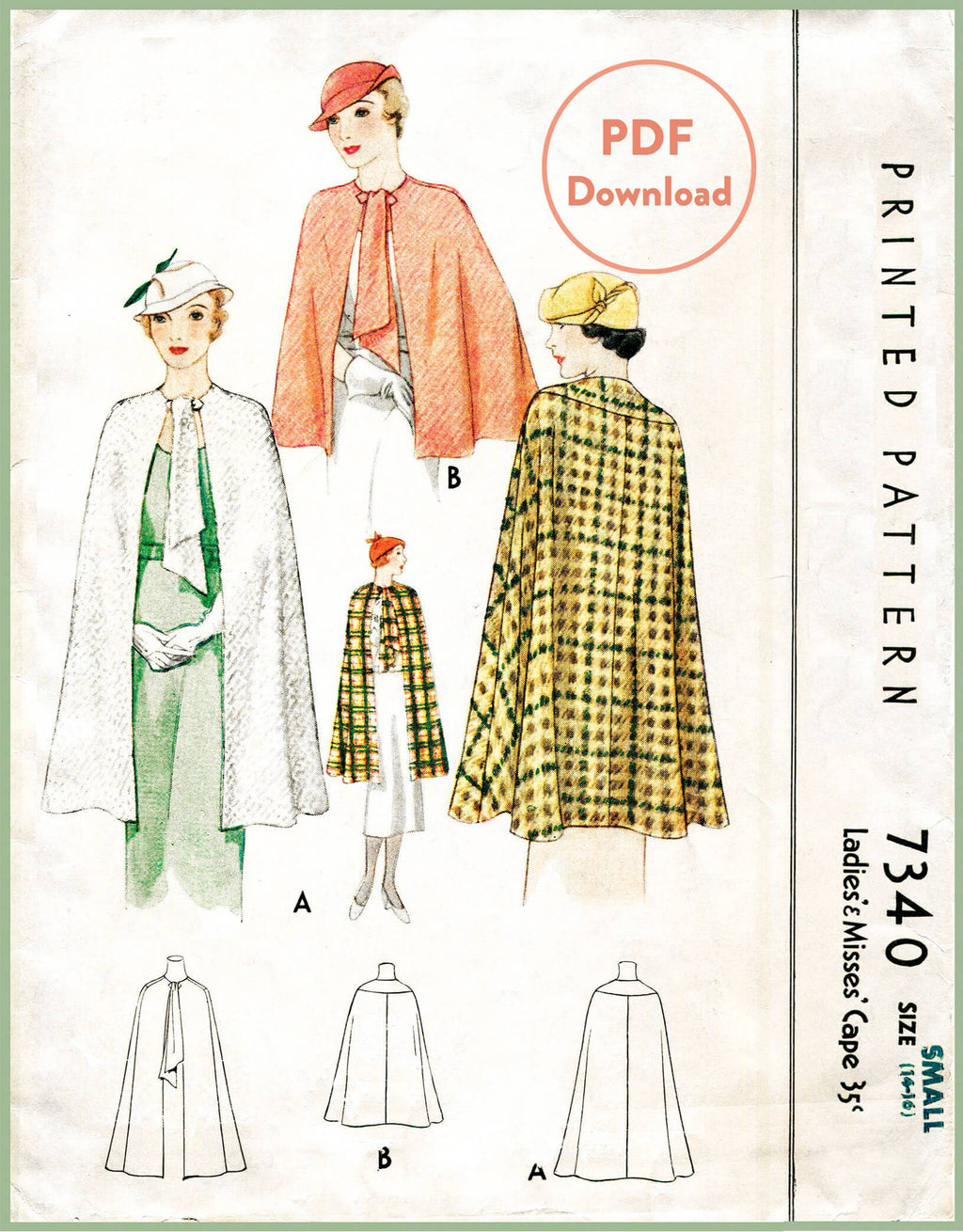 McCall 7340 1930s cape vintage sewing pattern 1930 outerwear PDF download