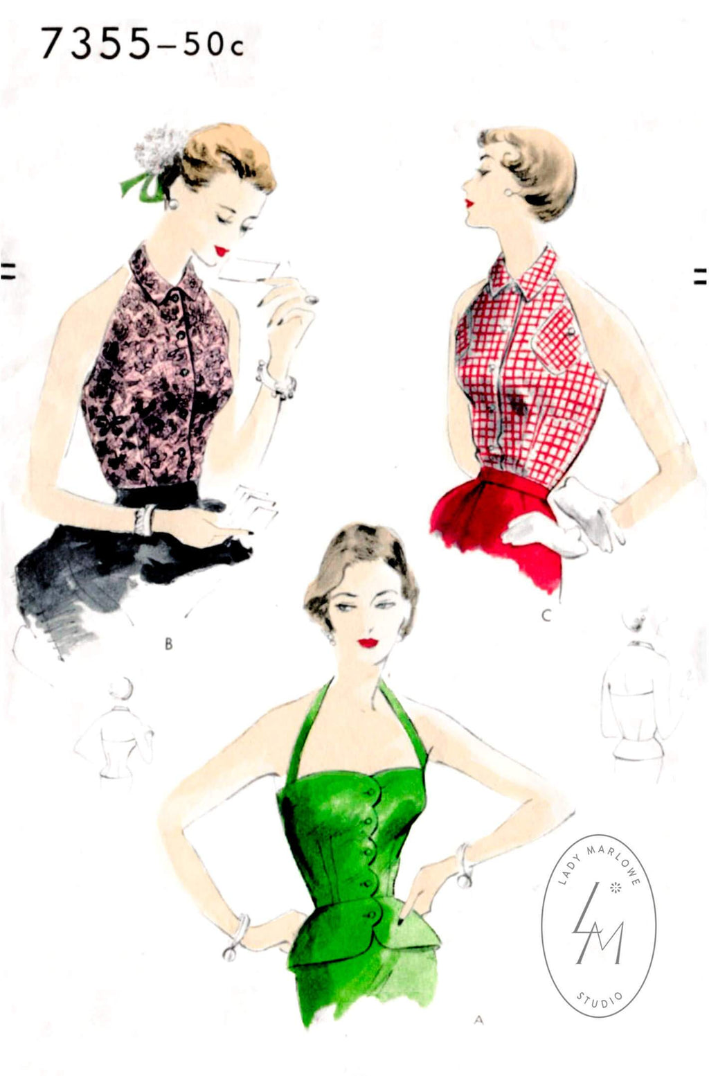 1950s halter top set in 3 styles Vogue 7355 vintage sewing pattern reproduction scallop edge detail