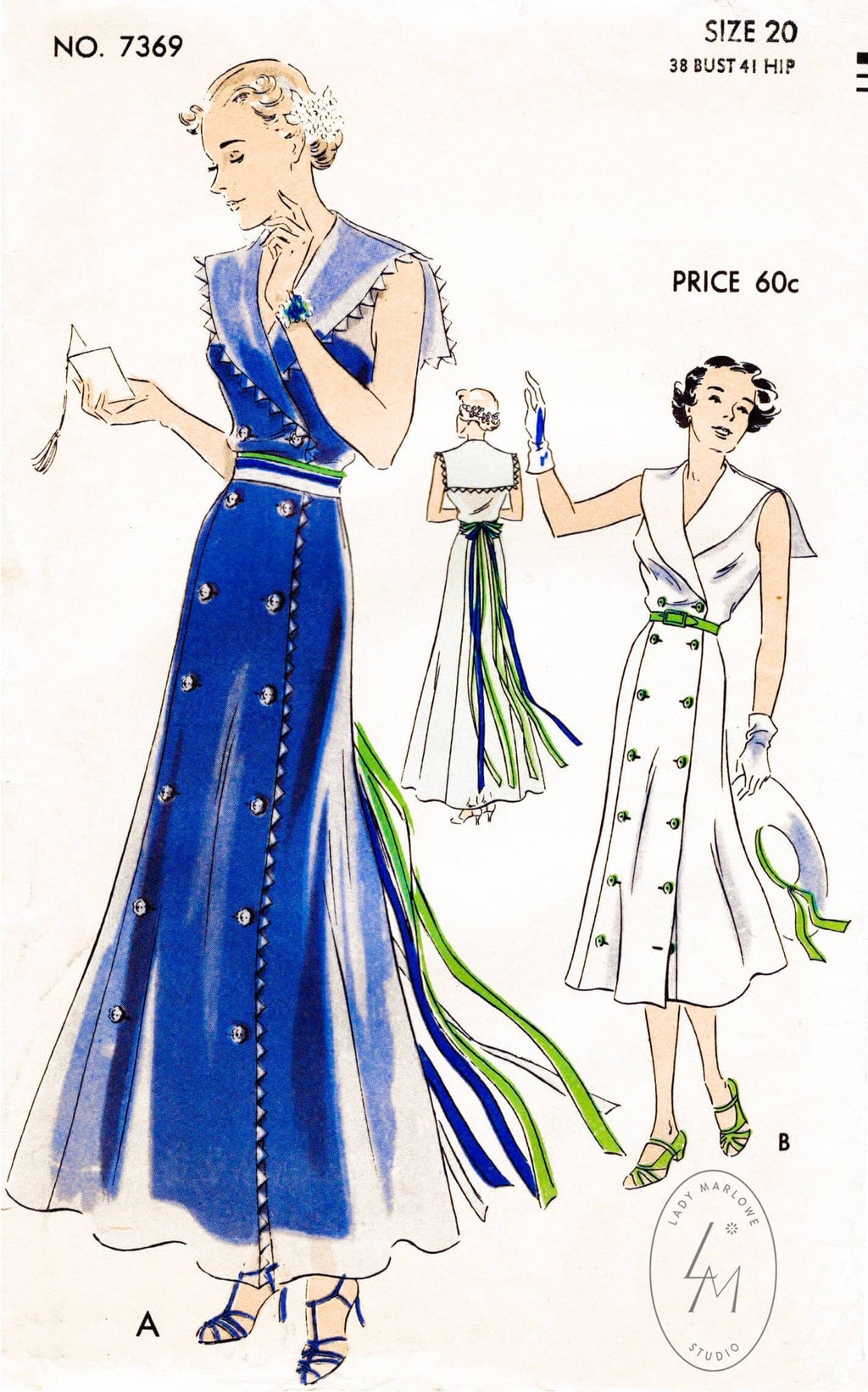 Vogue 7369 1930s sailor collar vintage dress sewing pattern
