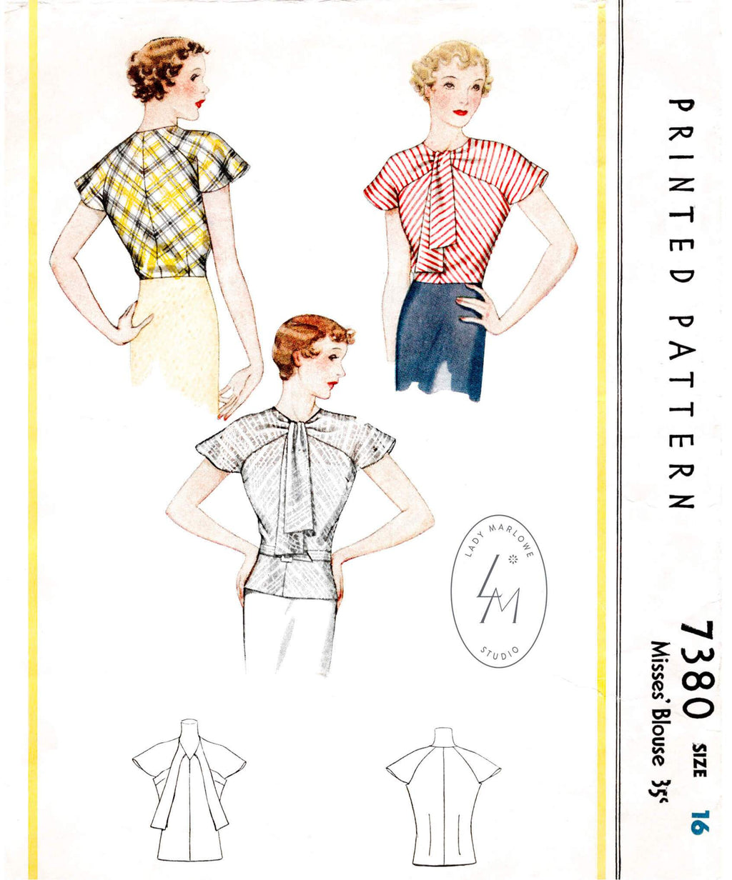 McCall 7380 1930s blouse vintage sewing pattern 1930 top