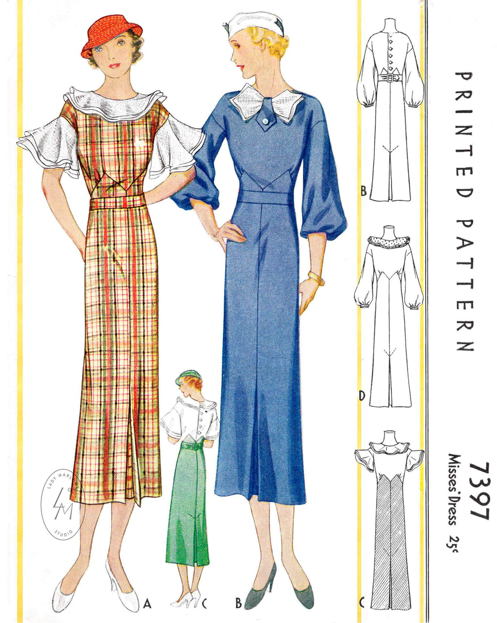 1930s 1933 McCall 7397 art deco dress in 4 styles vintage sewing pattern reproduction