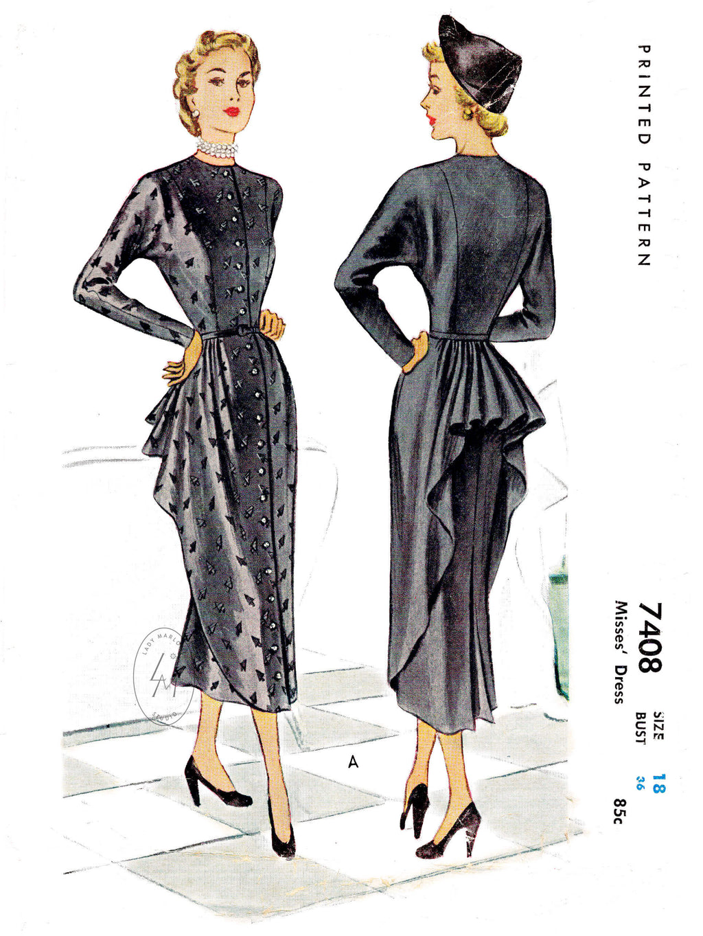McCall 7408 1940s 1948 bustle skirt vintage dress sewing pattern reproduction