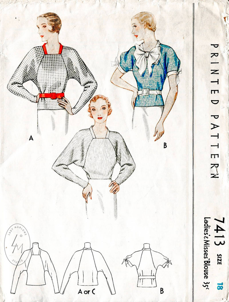 McCall 7413 1930s vintage sewing pattern blouse 1930 30s tops