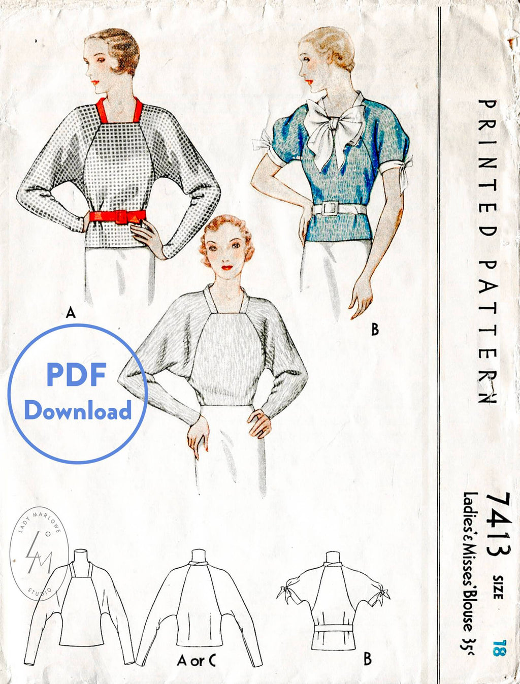 McCall 7413 1930s vintage sewing pattern 1930 30s blouse top