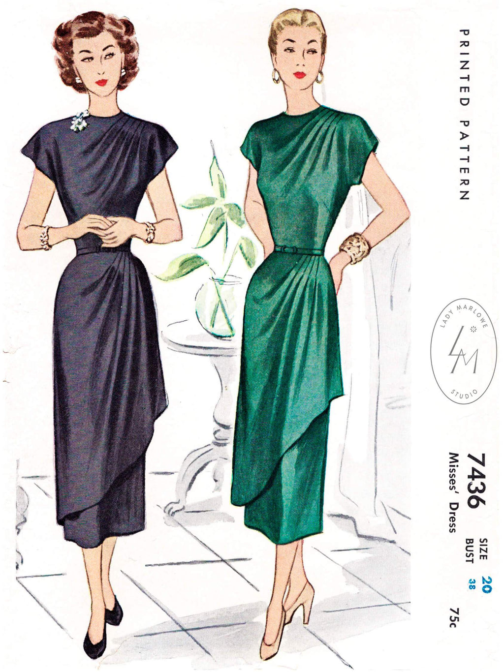 McCall 7436 1940s cocktail dress vintage sewing pattern reproduction
