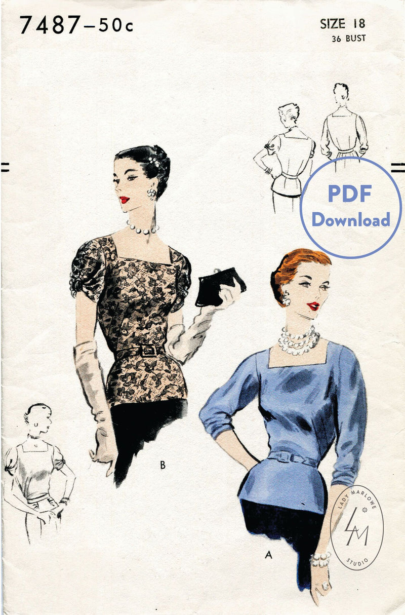 Vogue 7487 1950s evening blouse vintage sewing pattern PDF download