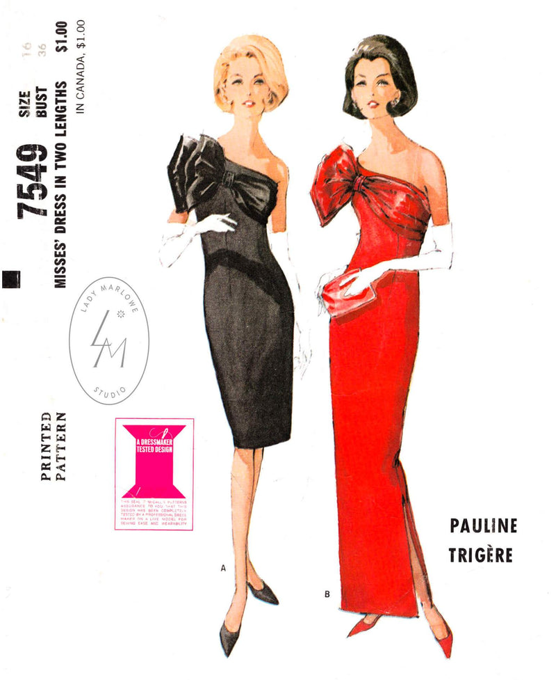 McCall 7549 1960s dress vintage sewing pattern one shoulder bow evening cocktail dress