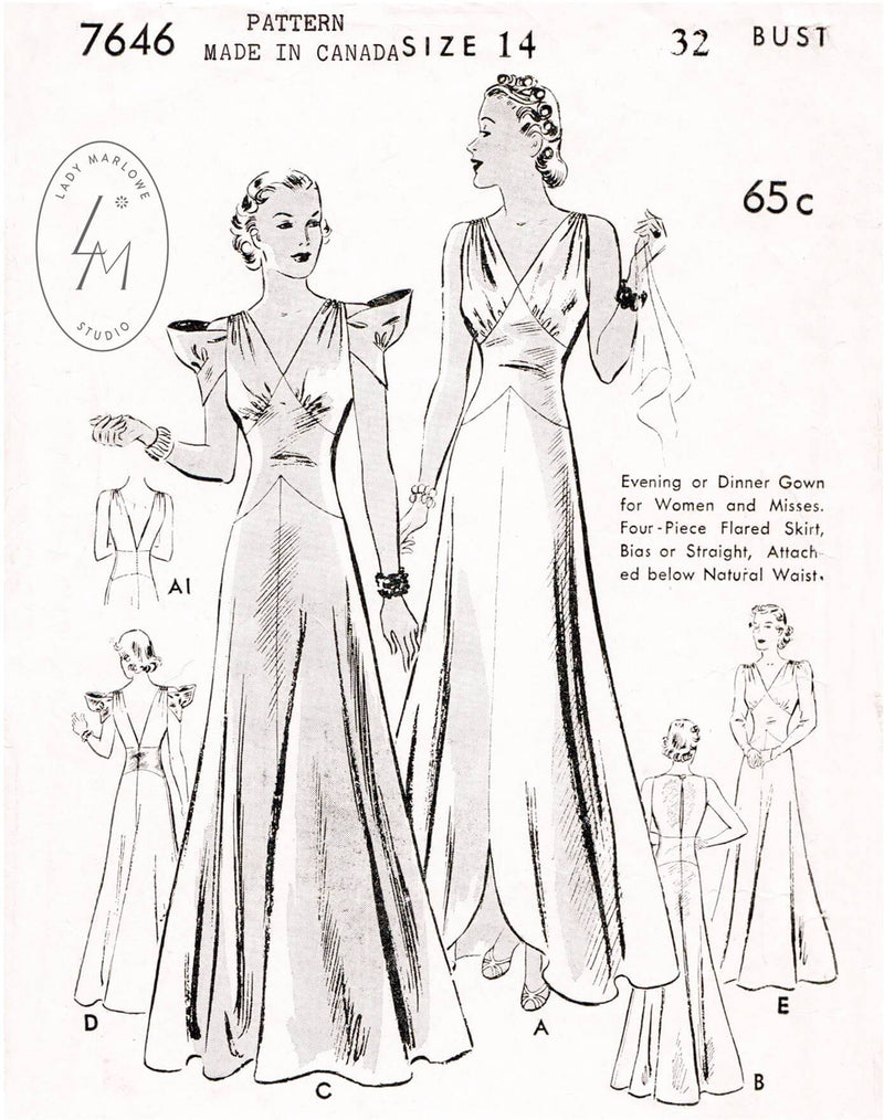 Butterick 7646 1930s evening gown vintage sewing pattern
