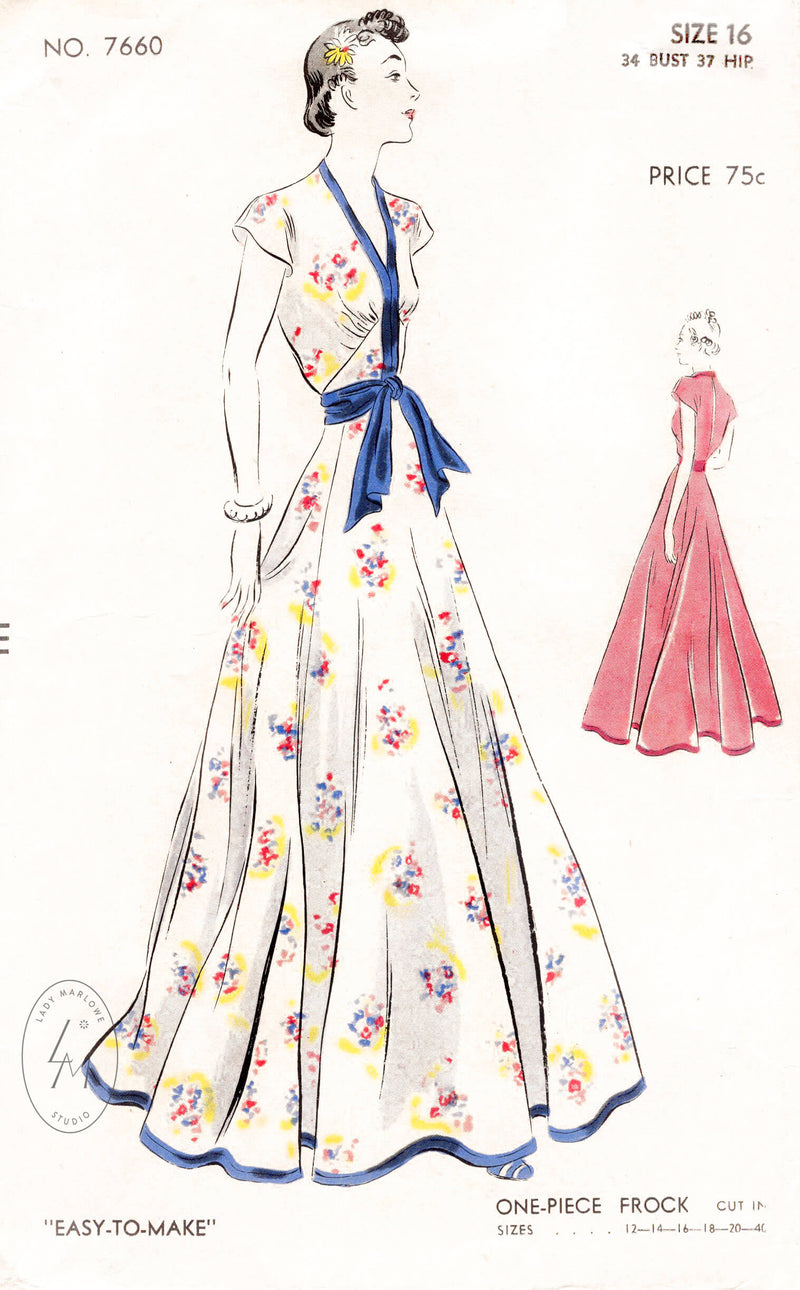 1930s vintage sewing pattern reproduction Vogue 7660 evening gown wedding dress spring summer