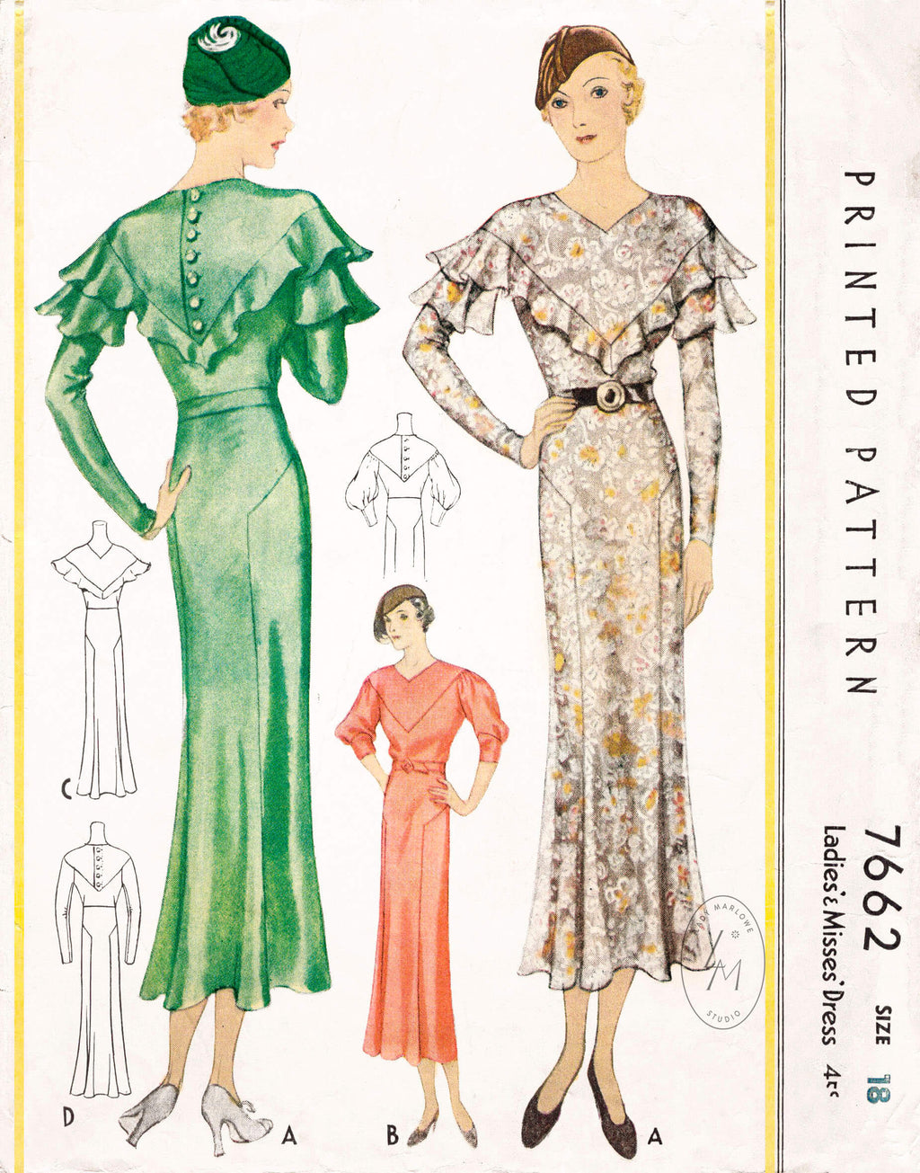 1930s vintage sewing pattern dress in 4 styles reproduction McCall 7662