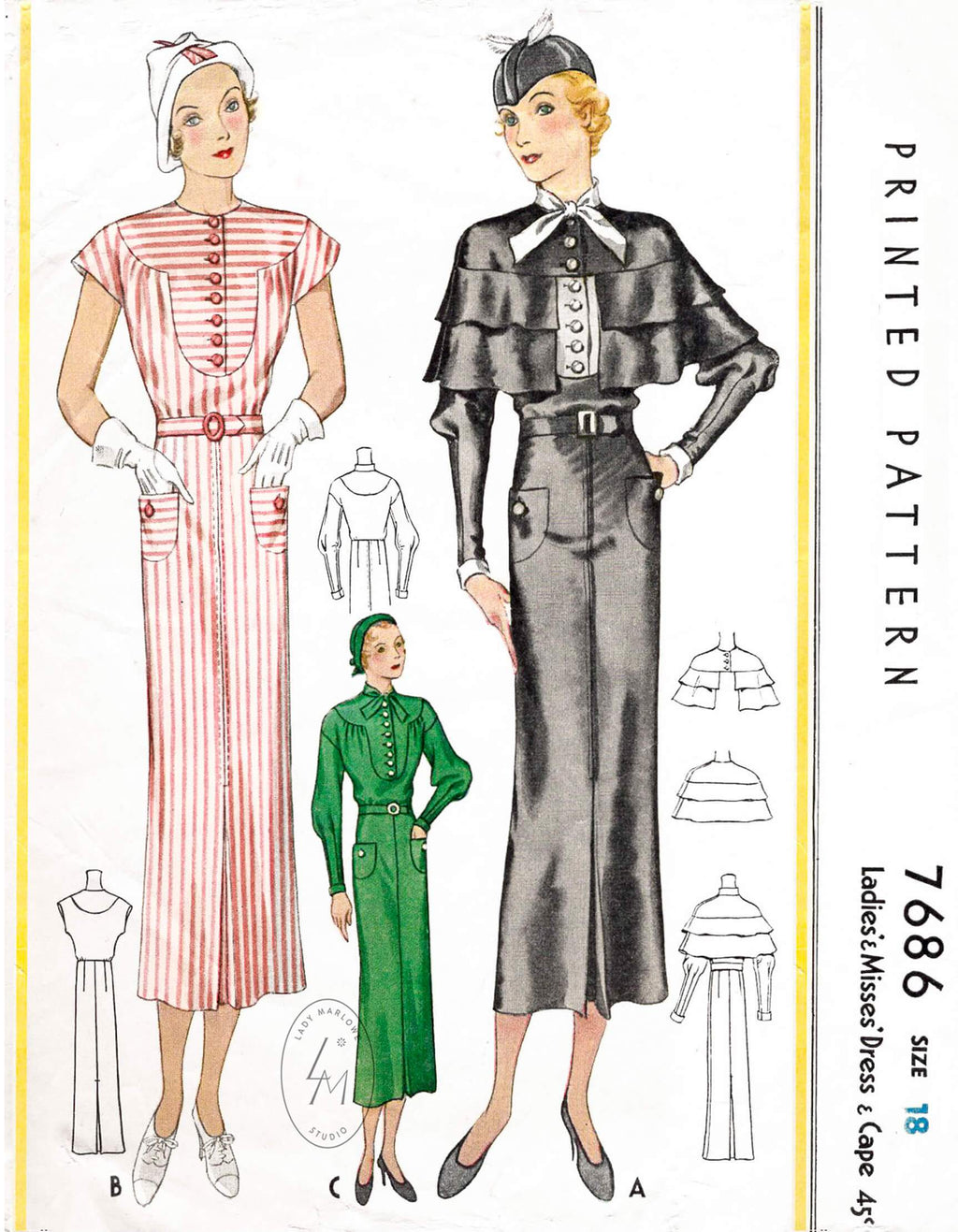 1930s McCall 7686 1933 art deco dress and ruffle capelet vintage sewing pattern repro