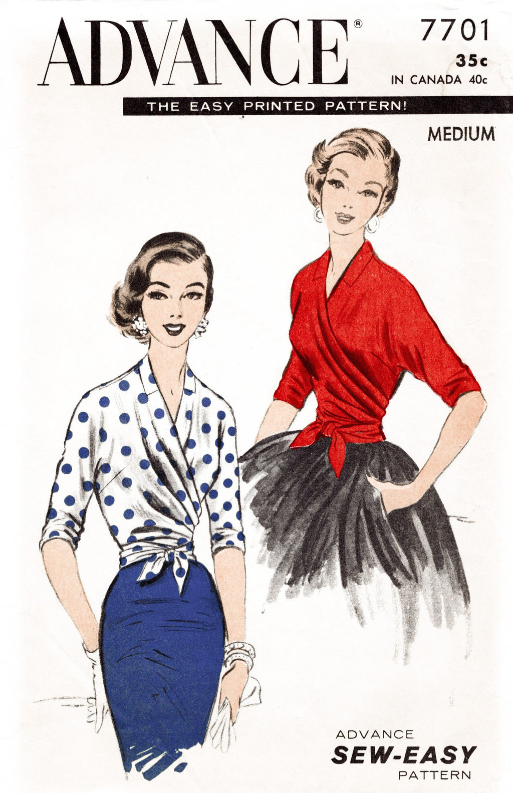 Advance 7701 1950s wrap blouse sewing pattern